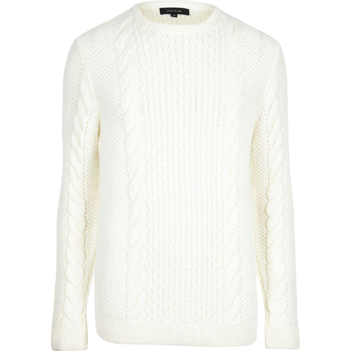 Cream cable knit crew neck sweater