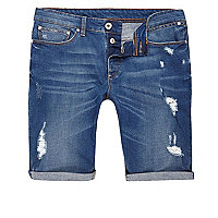 Big and tall – Blaue Jeansshorts im Used-Look
