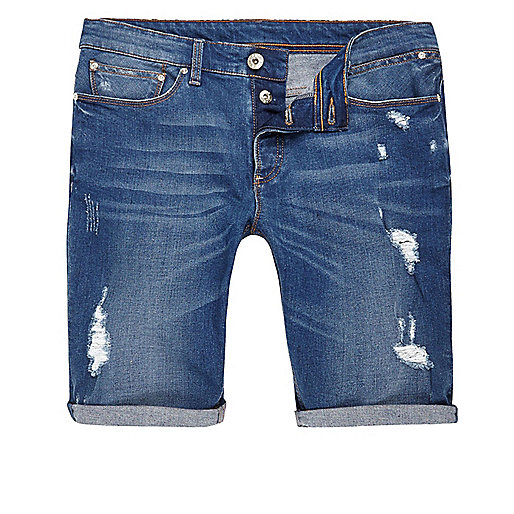 Big and tall blue ripped denim shorts