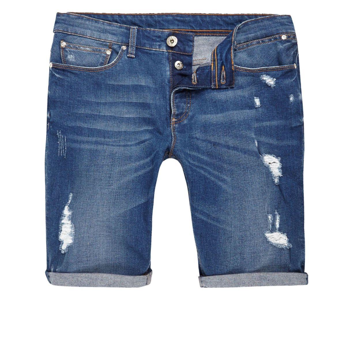 Big and tall – Short en jean bleu déchiré