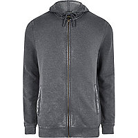 Dark grey washed zip front hoodie