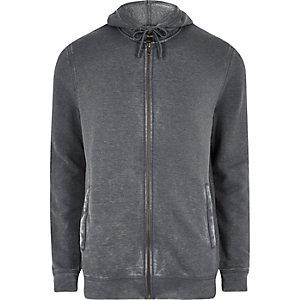 Sweat à capuche zippé gris foncé délavé