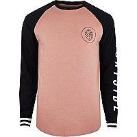 Pink graphic print raglan long sleeve T-shirt