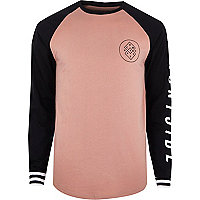 Pink graphic print raglan long sleeve T-shirt