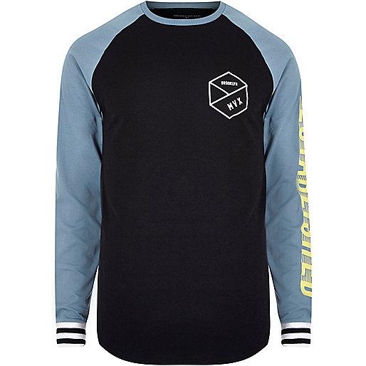 Black graphic print raglan sleeve T-shirt
