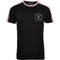 Big and Tall black contrast panel T-shirt