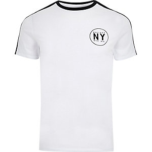 Big and Tall white 'NY' muscle fit T-shirt