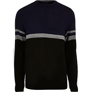 Navy perforated stripe sweater