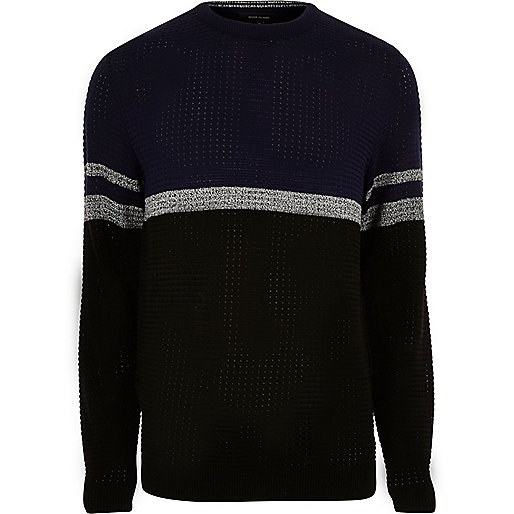 Navy colour block stripe jumper