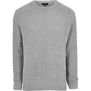 Grey textured waffle knit jumper