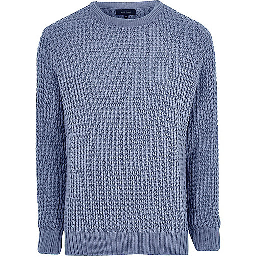 Blue textured waffle knit sweater