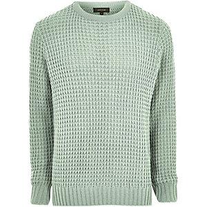 Mint green textured waffle knit jumper