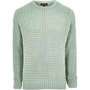 Mint green textured waffle knit sweater
