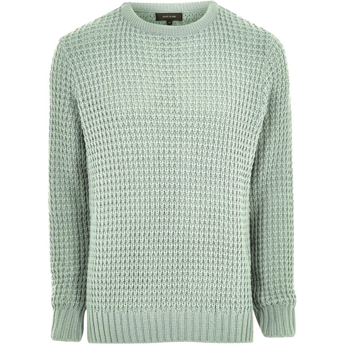 Mint green textured waffle knit sweater
