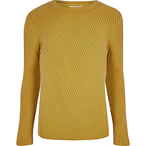 Mustard yellow ribbed panel slim fit jumper