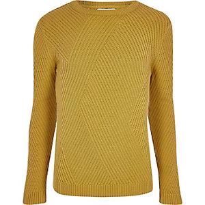 Senfgelber Slim Fit Pullover mit geripptem Einsatz