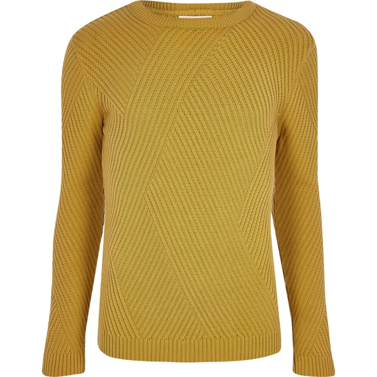 Mustard yellow ribbed panel slim fit sweater