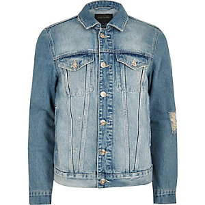 Big and Tall blue distressed denim jacket