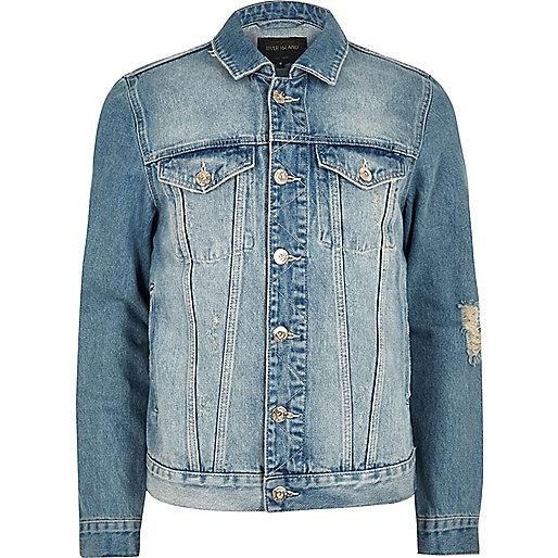 Big and Tall blue distressed denim jacket