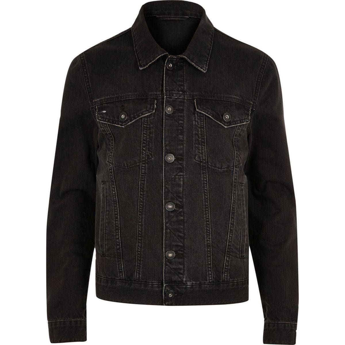 Big and Tall black distressed denim jacket