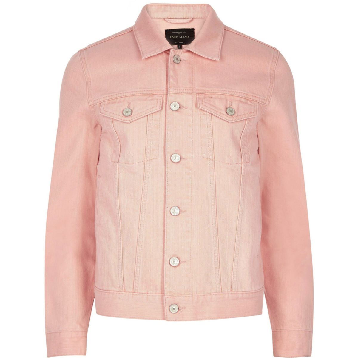 Big and Tall pink denim jacket