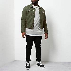Big and Tall - Donkergroen denim jack