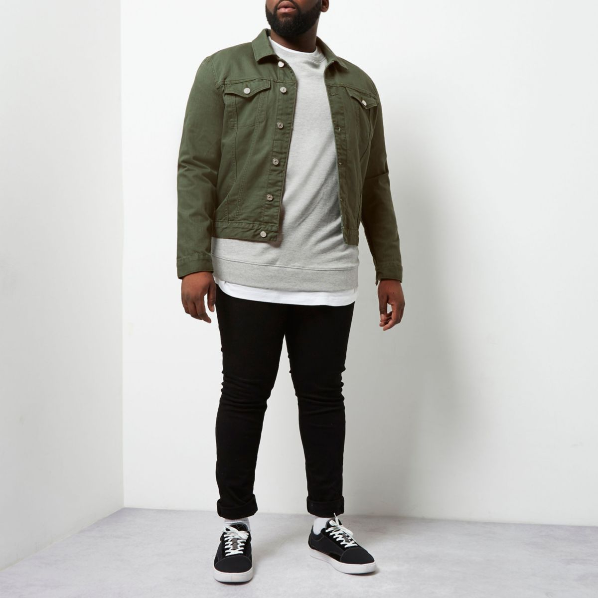 Big & Tall – Dunkelgrüne Jeansjacke