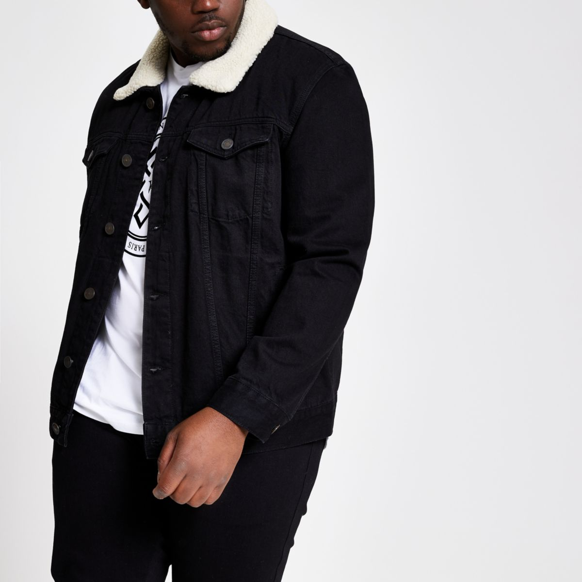 Veste Big & Tall en jean noir à col imitation mouton