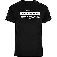Black Stockholm print T-shirt