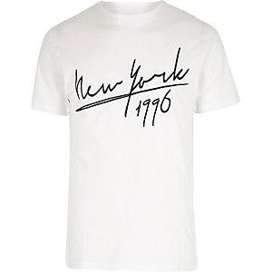 """Weißes T-Shirt mit """"New York""""-Aufdruck"""