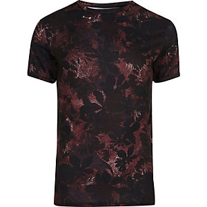 Black leaf print muscle fit T-shirt