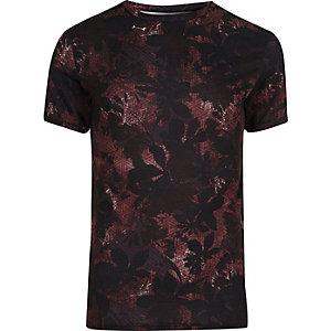 Zwart aansluitend T-shirt met bladerprint