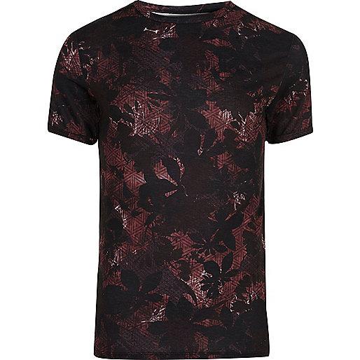 Black leaf print muscle fit T-shirt