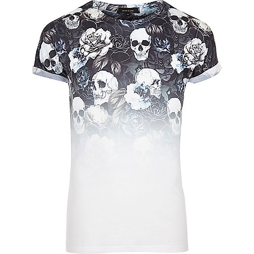 White faded skull print T-shirt
