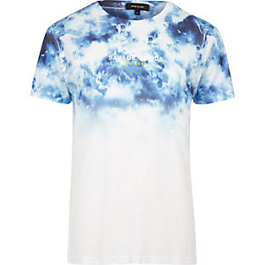 Wit met blauw tie-due T-shirt