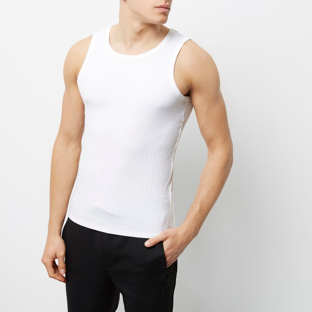 White ribbed slim fit vest