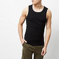 Black ribbed slim fit vest