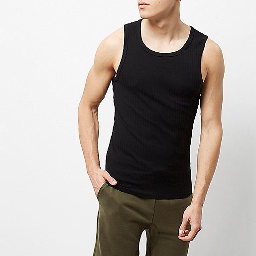 Black ribbed slim fit vest