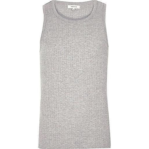 Grey ribbed slim fit vest