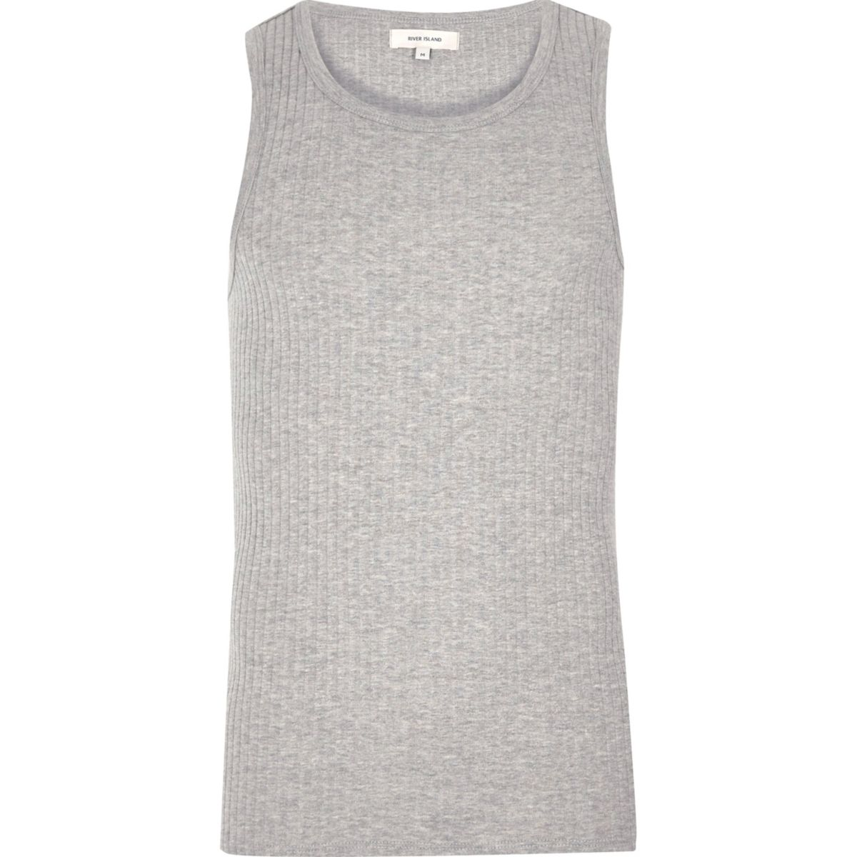 Grey ribbed slim fit tank