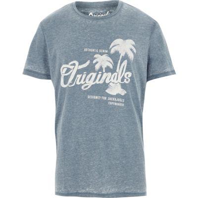 Jack and Jones Blauw burnout T-shirt met print