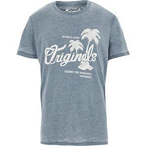 Blue burnout Jack & Jones print T-shirt