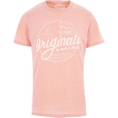 Jack and Jones Oranje burnout T-shirt met print