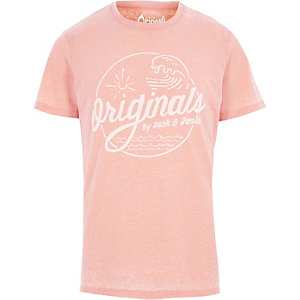 Jack & Jones – Oranges Burnout-T-Shirt mit Print