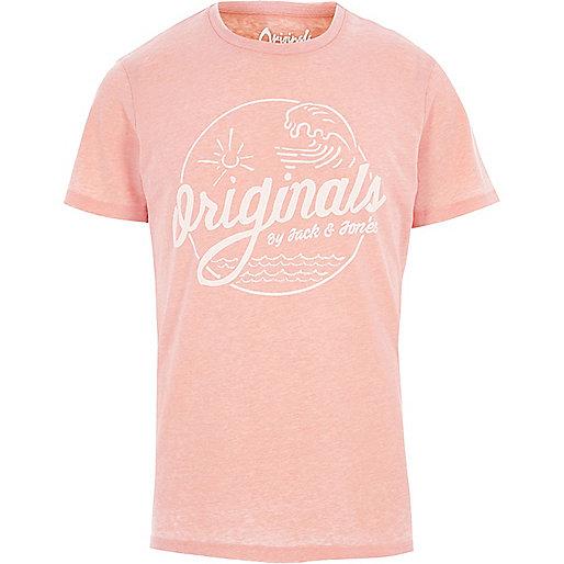 Orange burnout Jack & Jones print T-shirt