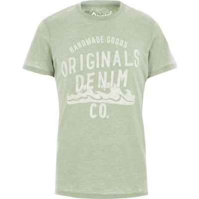 Jack and Jones Groen burnout T-shirt met print