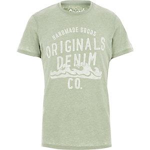 Jack & Jones – T-shirt imprimé vert effet usé