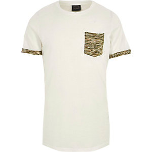 White Jack & Jones camo patch pocket T-shirt