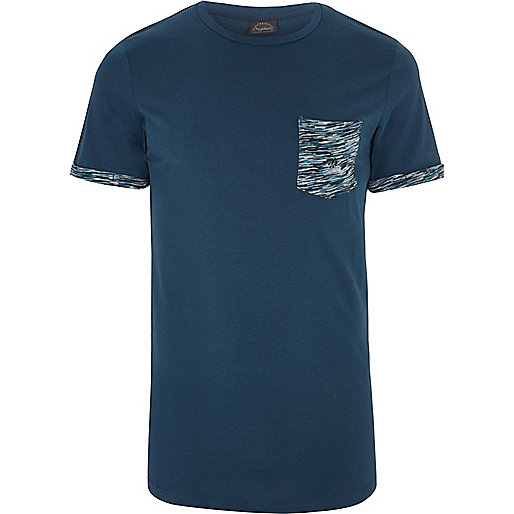 Navy Jack & Jones camo patch pocket T-shirt