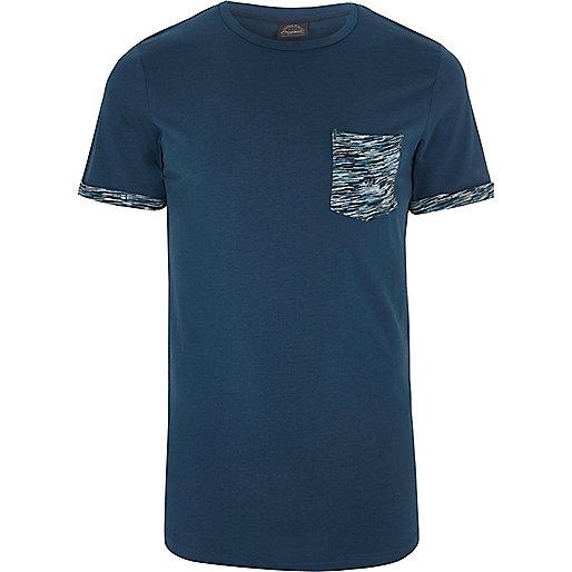 Navy Jack & Jones camo patch pocket T-shirt